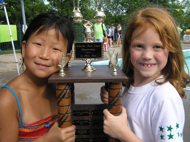 Mary and Addie with trophy